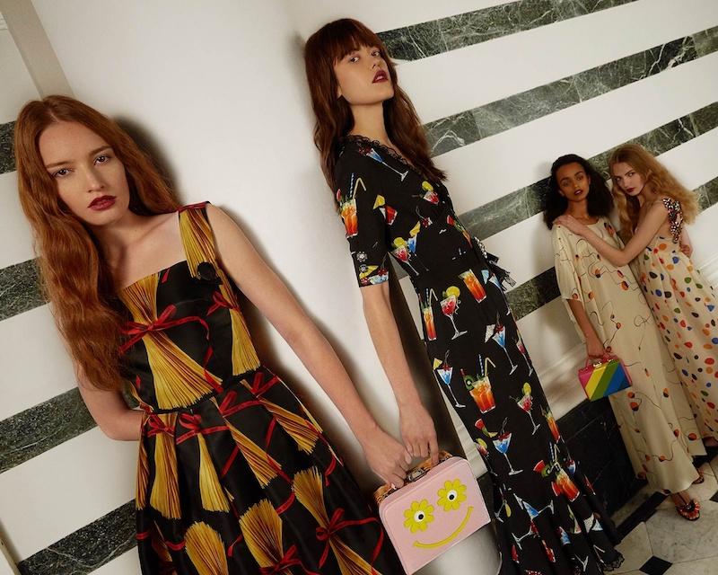 Dolce & Gabbana Spaghetti-Print Organza Midi Dress