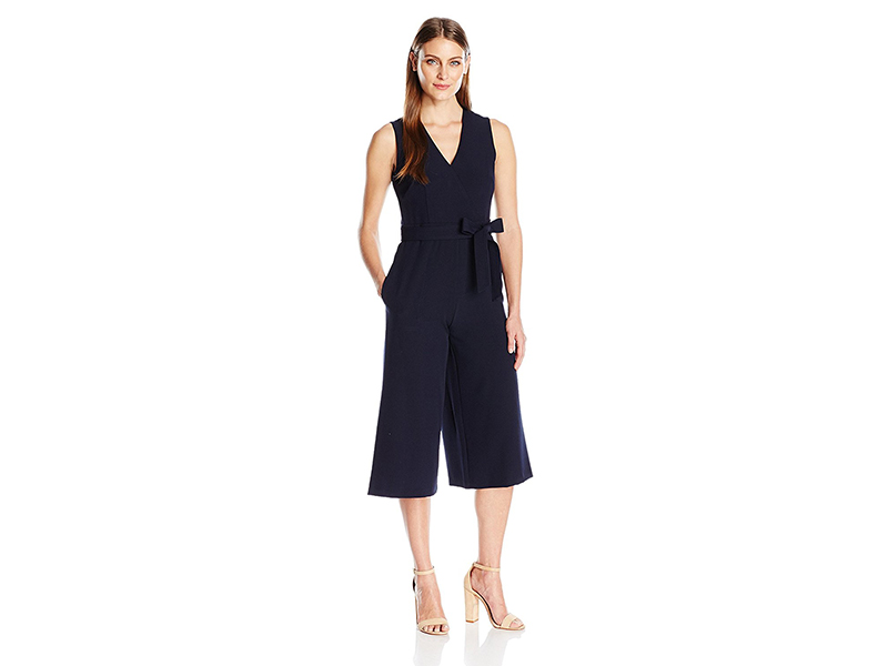 Donna Ricco 1 Piece Slvless V Neck Tie Waist Solid Jumpsuit