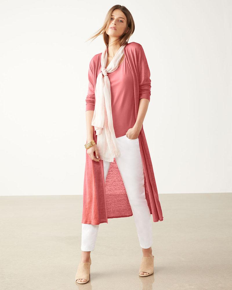 Eileen Fisher Fine Organic Linen-Blend Maxi Cardigan