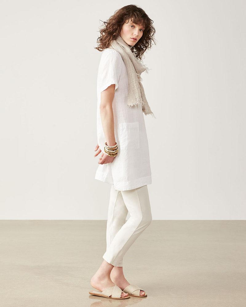 Eileen Fisher Short-Sleeve Organic Linen Dress