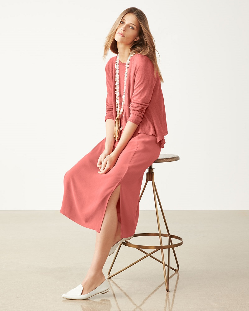 Eileen Fisher Silk Georgette Crepe Midi Tank Dress