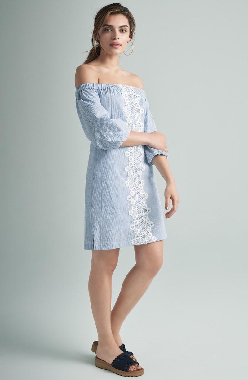 Eliza J Lace Trim Seersucker Off the Shoulder Dress