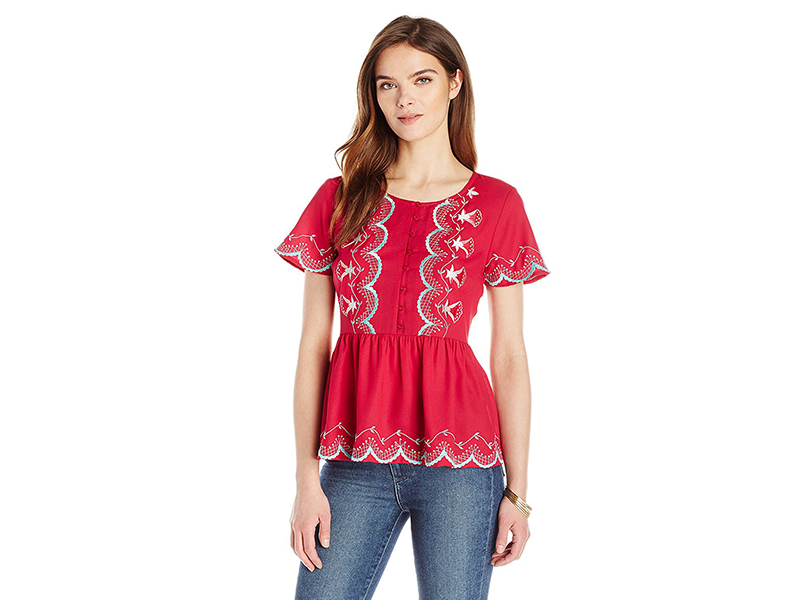 Ella Moon Madalynn Short Sleeve Embroidered Peplum Top