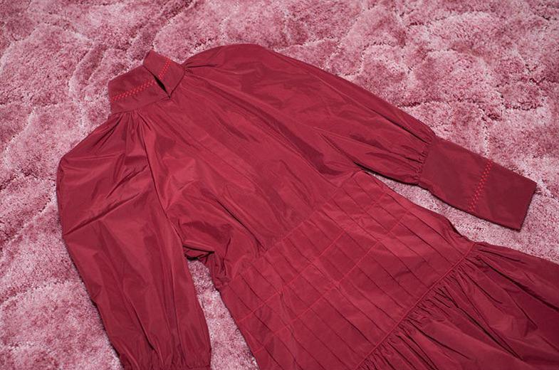 Ellery Skyward Balloon Sleeved Pleat Dress