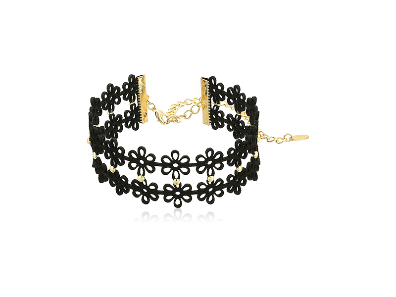 Ettika Donna in Black and Gold Choker Necklace