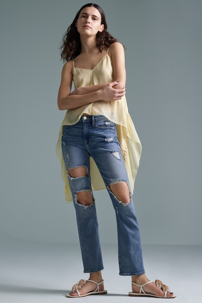 FRAME Le High Straight Destroyed Crop Jeans