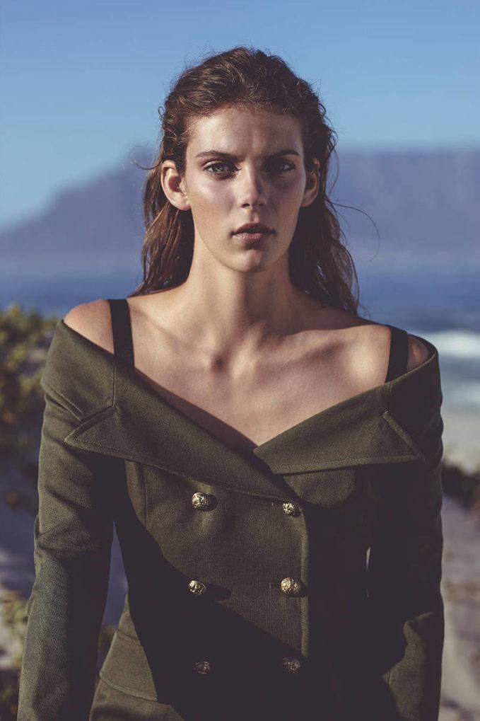 Faith Connexion Off Shoulder Cotton Linen Sailor Jacket