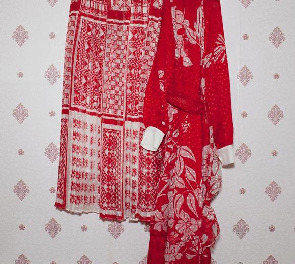 Fendi Scarf Print Polka Dot Devoré Skirt