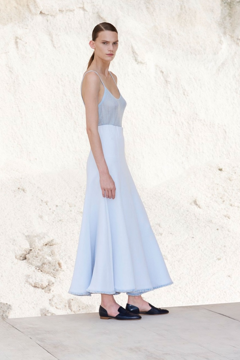 Gabriela Hearst Warren Fluted-Hem Crepe Skirt