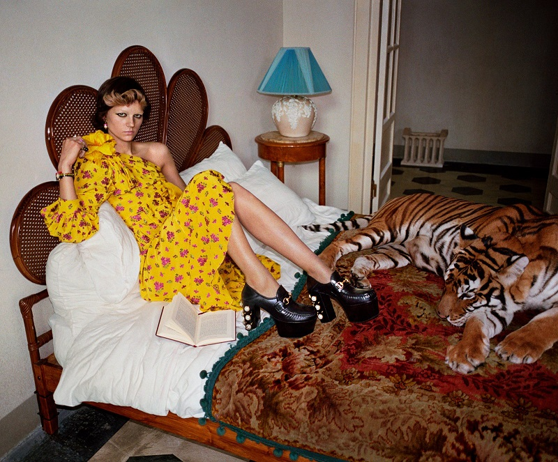 Gucci Little Flower Georgette One-Shoulder Gown