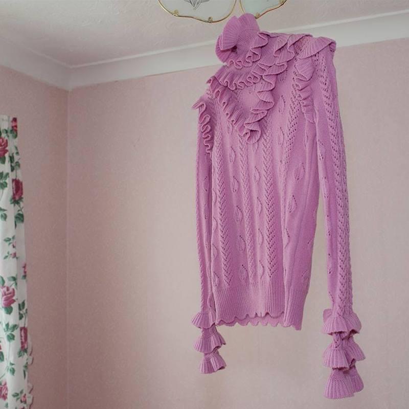 Gucci Roll Neck Ruffled Knit Sweater