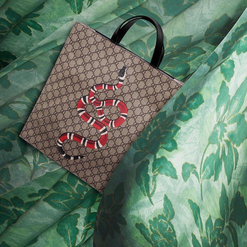 Gucci Snake Print GG Supreme Tote Bag