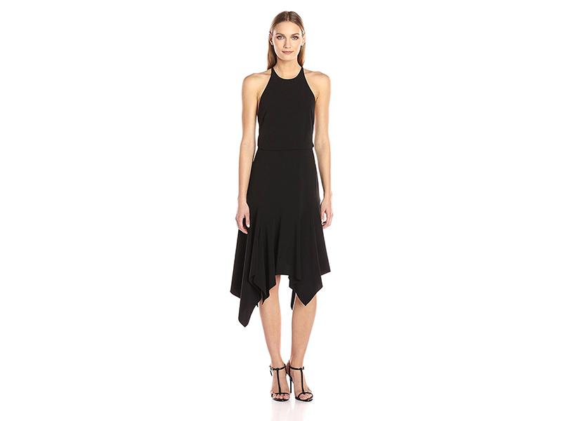 HALSTON HERITAGE Sleeveless Round Neck Flounce Skirt Dress with Back Straps