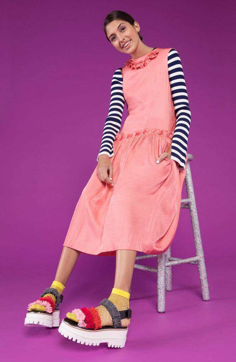 J KOO Sleeveless Ruffle Dress