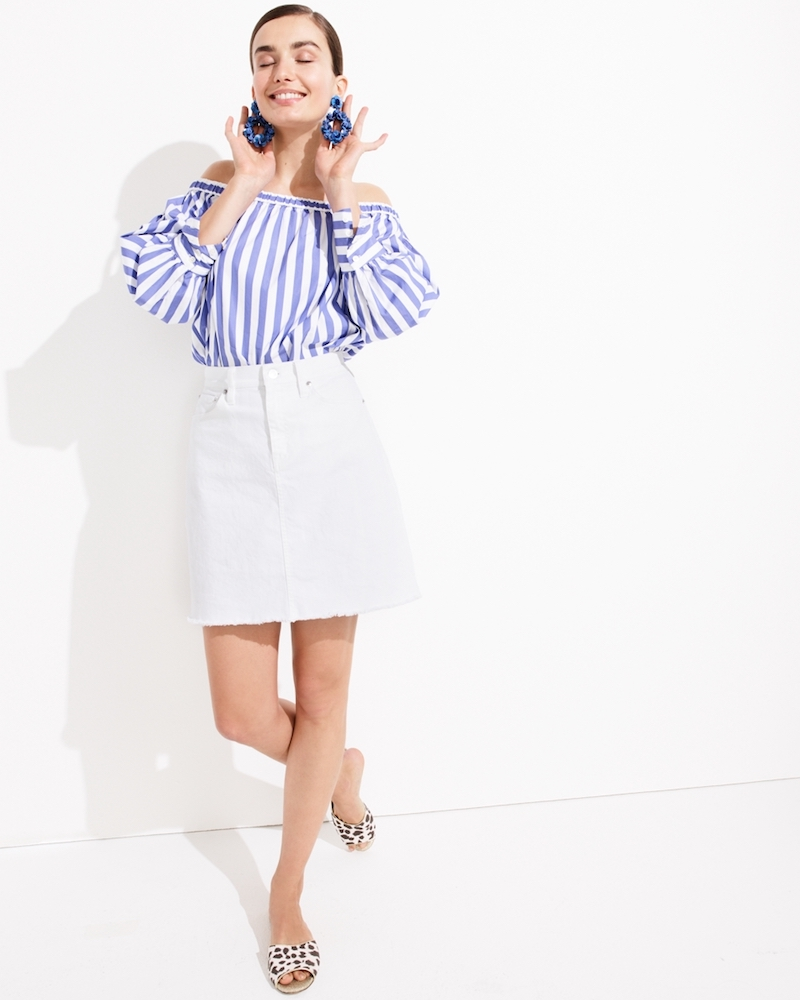 J.Crew Collection Thomas Mason for J.Crew Off-The-Shoulder Striped Top