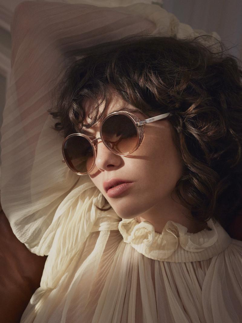 JIMMY CHOO Andie Round-Frame Glittered Acetate Mirrored Sunglasses