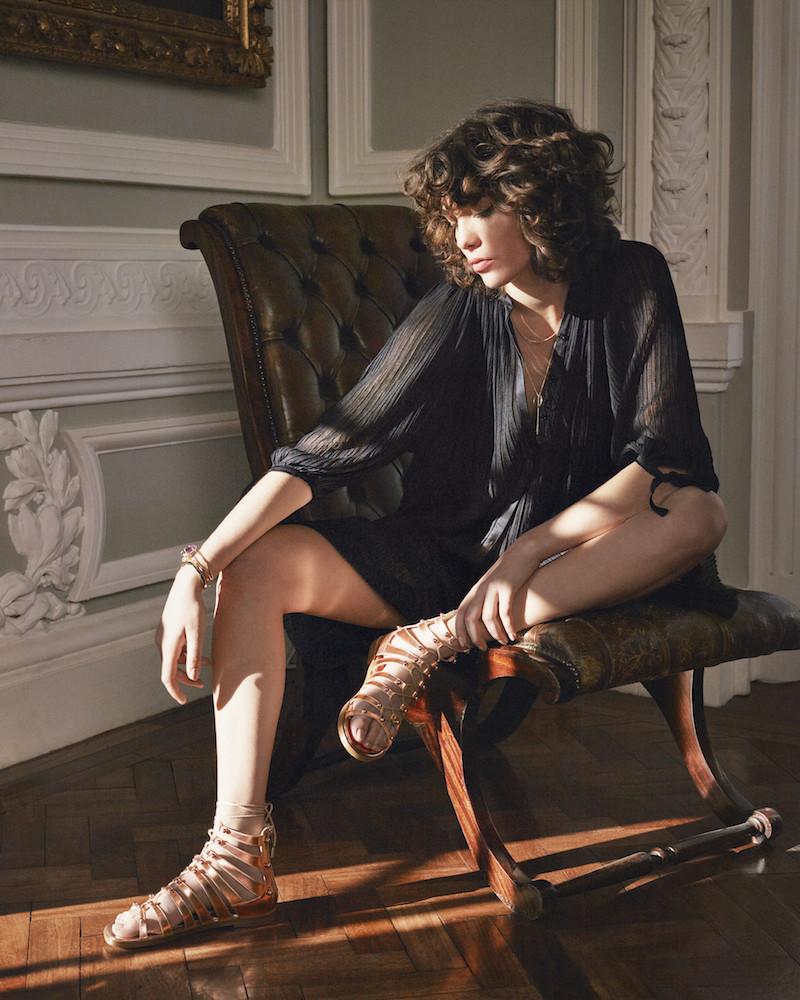 JIMMY CHOO Gigi Flat Tea Rose Mirror Leather Sandals with Beads