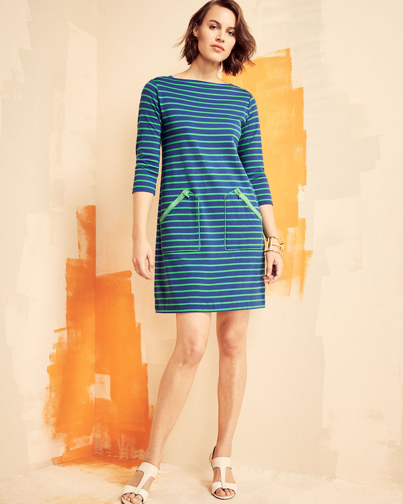 Joan Vass 3/4-Sleeves Striped Cotton Interlock Dress