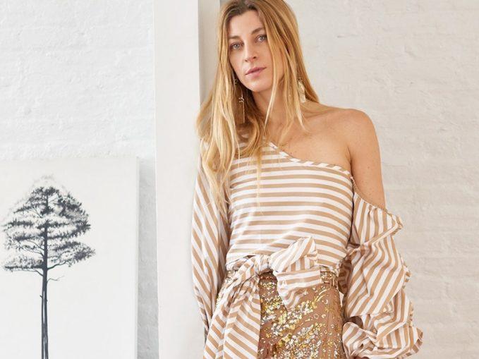 Johanna Ortiz Letica One-Shoulder Striped Cotton Top