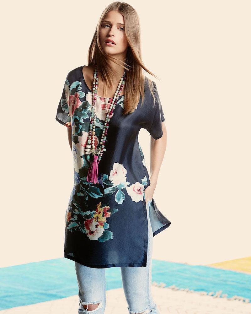 Johnny Was Bayla Long Floral-Print Silk Tunic