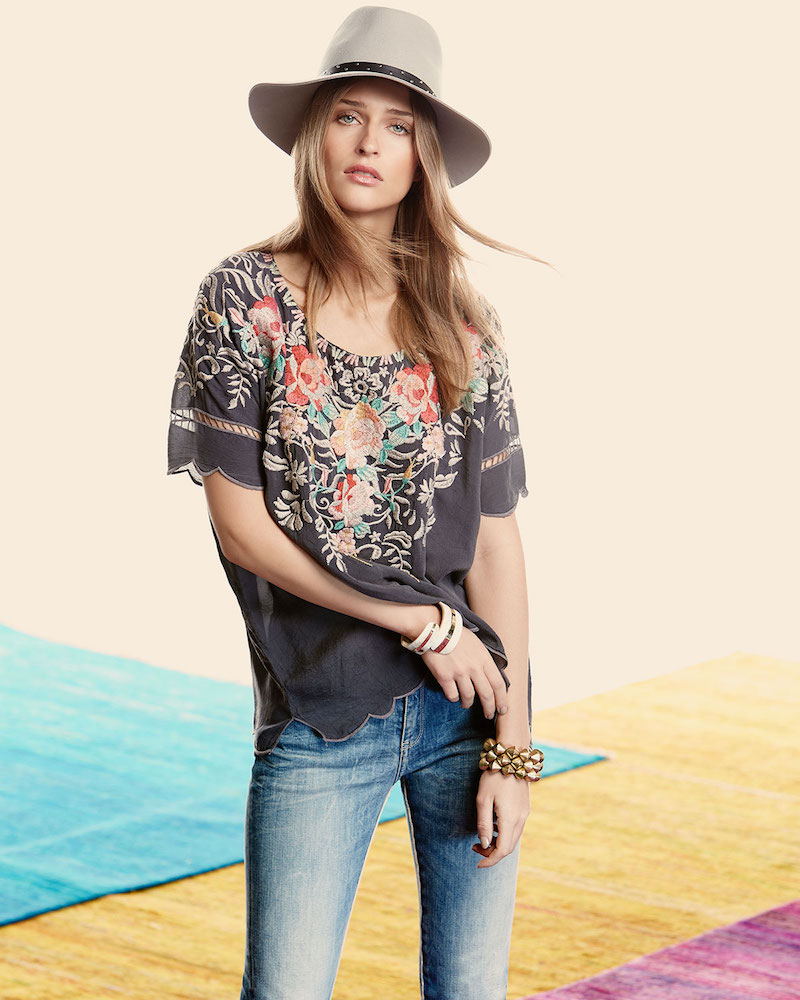 Johnny Was Jenn Embroidered Short-Sleeve Top