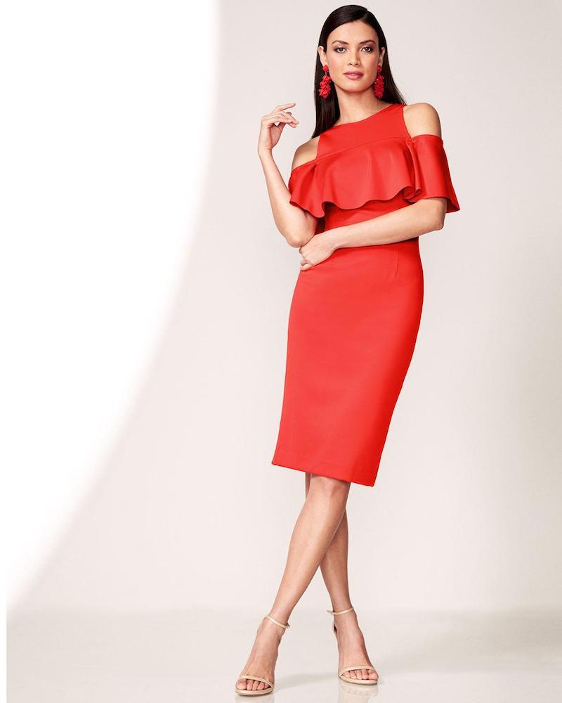 Jovani Cold-Shoulder Crepe Popover Cocktail Dress