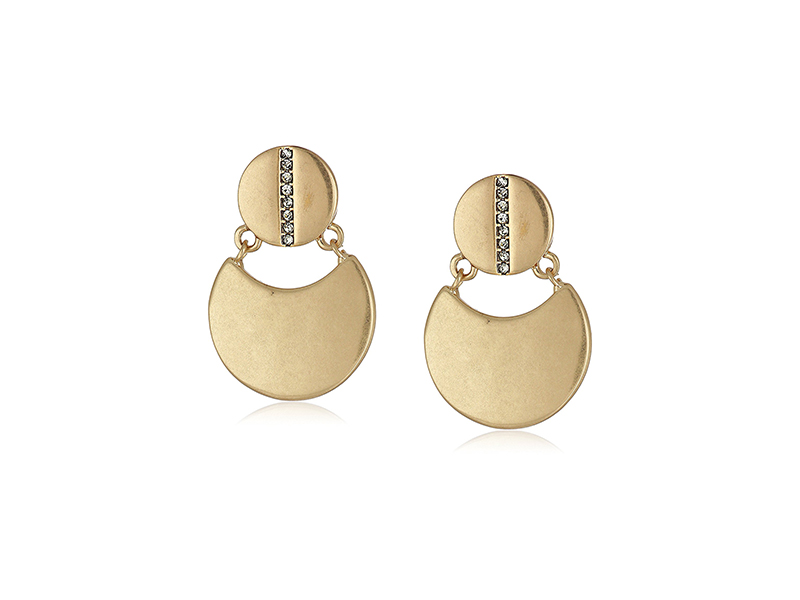 "Kenneth Cole New York ""Highlines"" Pave Double Disc Drop Earrings"