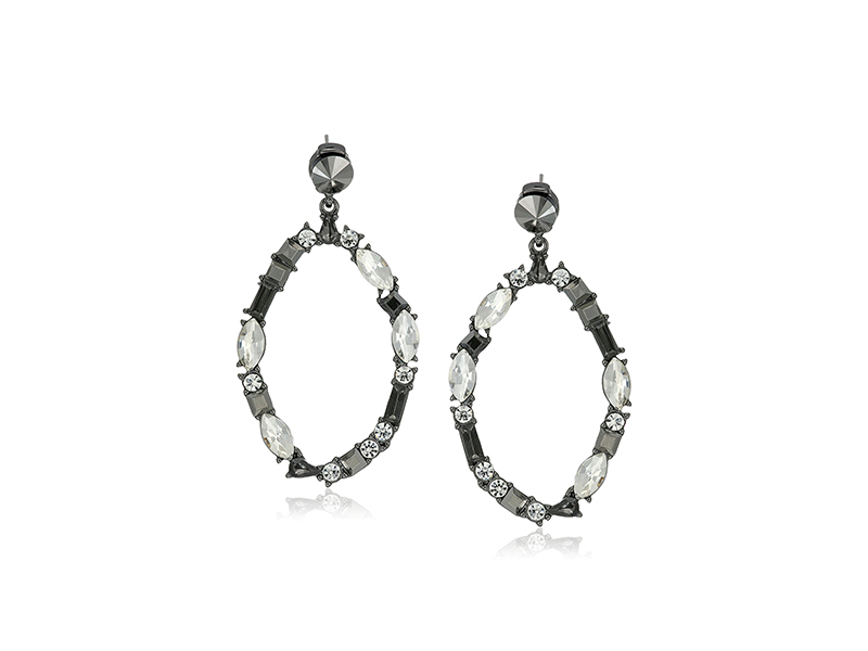 "Kenneth Cole New York ""Stone Cluster Metallic"" Mixed Metallic Faceted Stone Oval Gypsy Hoop Earrings"