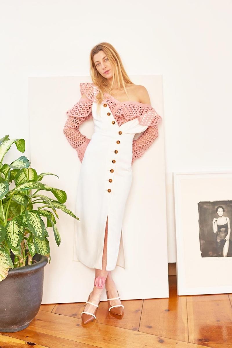 Khaite Christy V-Neck Midi Dress