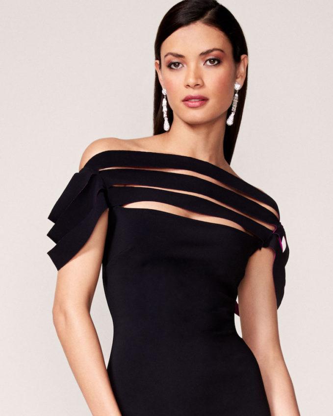 La Petite Robe di Chiara Boni Stana Sleeveless Draped Ribbon Cocktail Dress