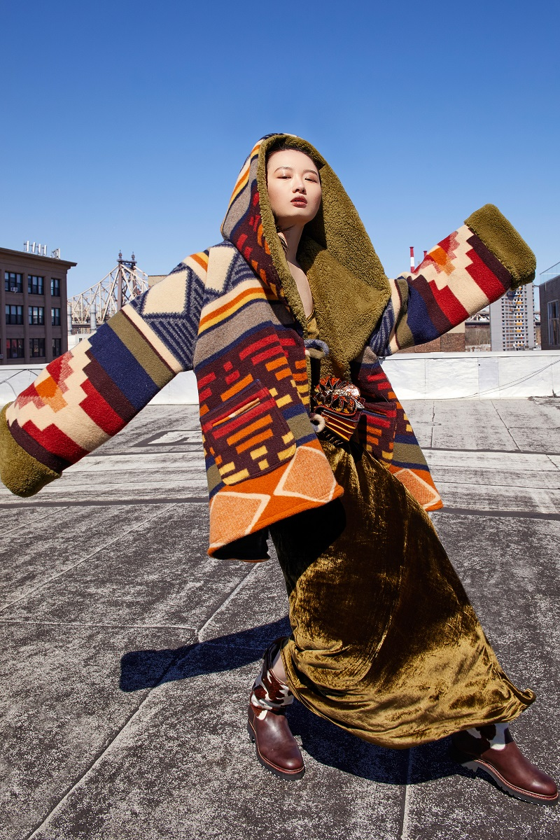 Lindsey Cedar Mountain Trench Cloak with Shearling
