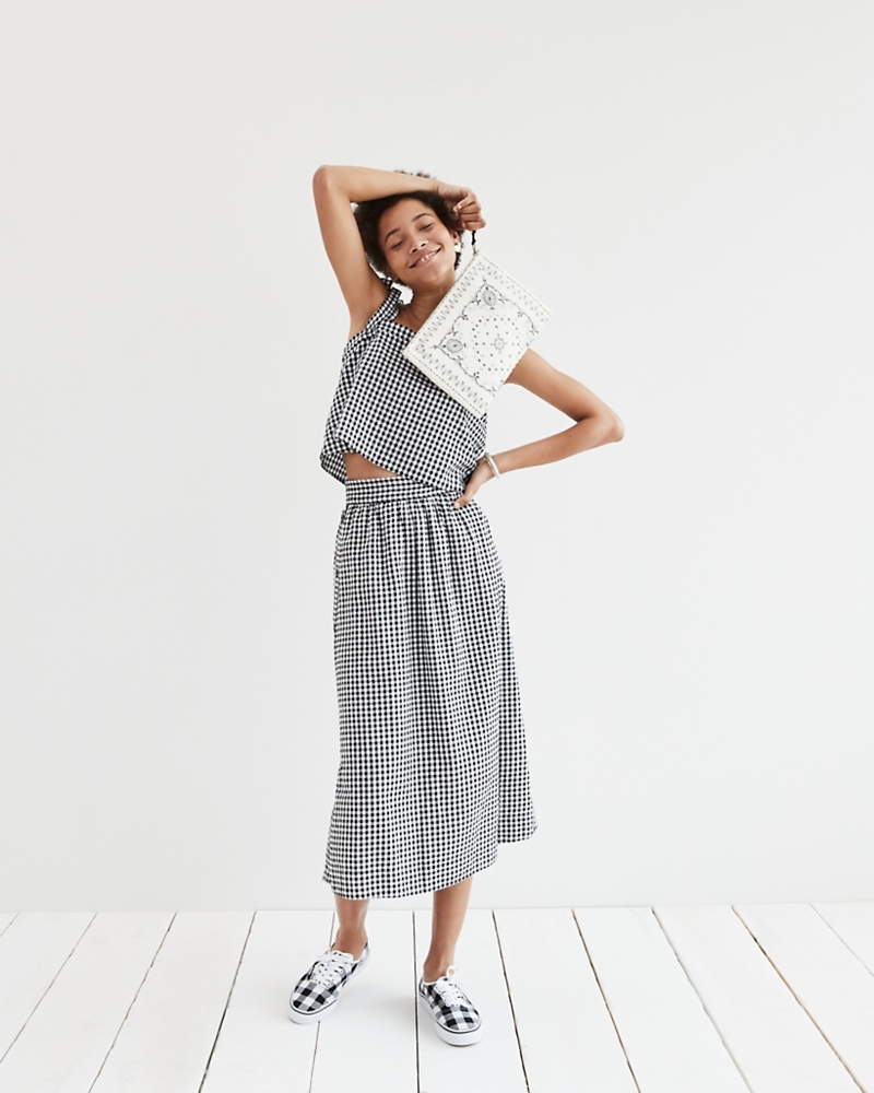 Madewell Side-Button Skirt In Gingham Check