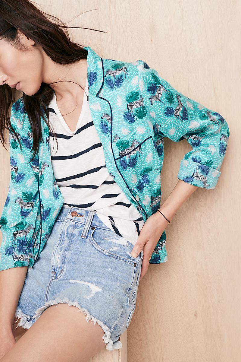 Madewell Silk Pajama Shirt in Zebra Print