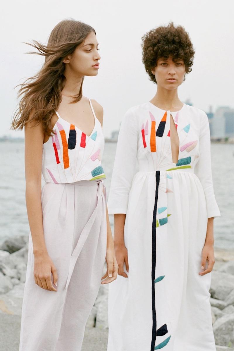 Mara Hoffman Xylophone-Embroidered Midi Linen Dress