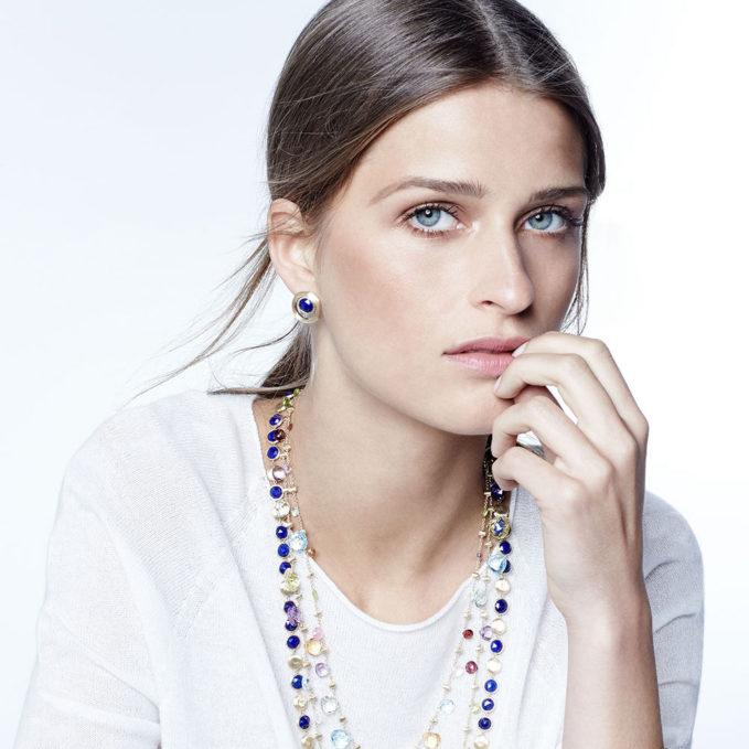 Marco Bicego Jaipur 18K Gold Lapis Lazuli Stud Earrings