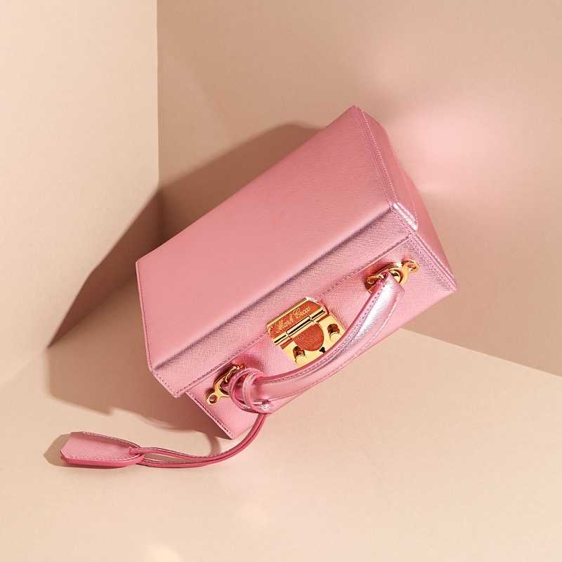 Mark Cross Grace Small Grained-Leather Box Bag in Metallic Pink
