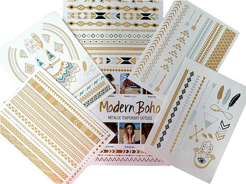 Modern Boho 5 Sheets Metallic Tattoos Flash