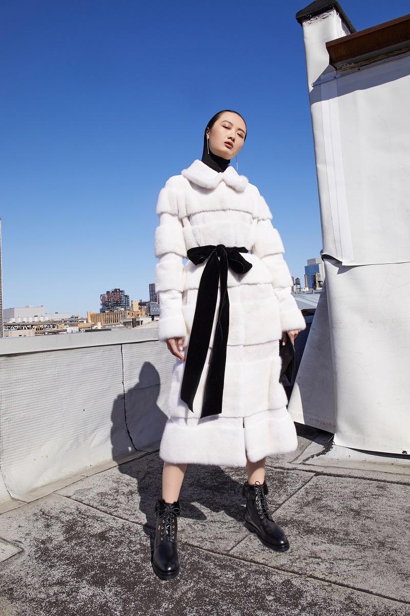 Monique Lhuillier Mink Laser Shaved Insert Coat
