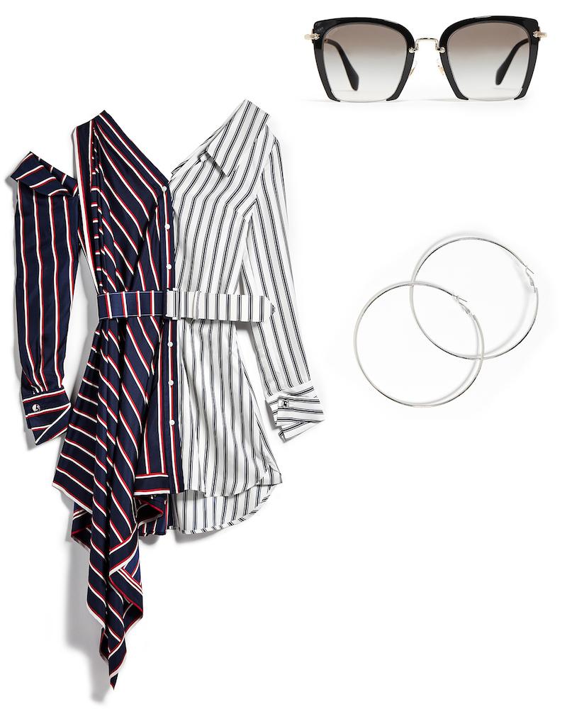 Monse One Shoulder Striped Dress