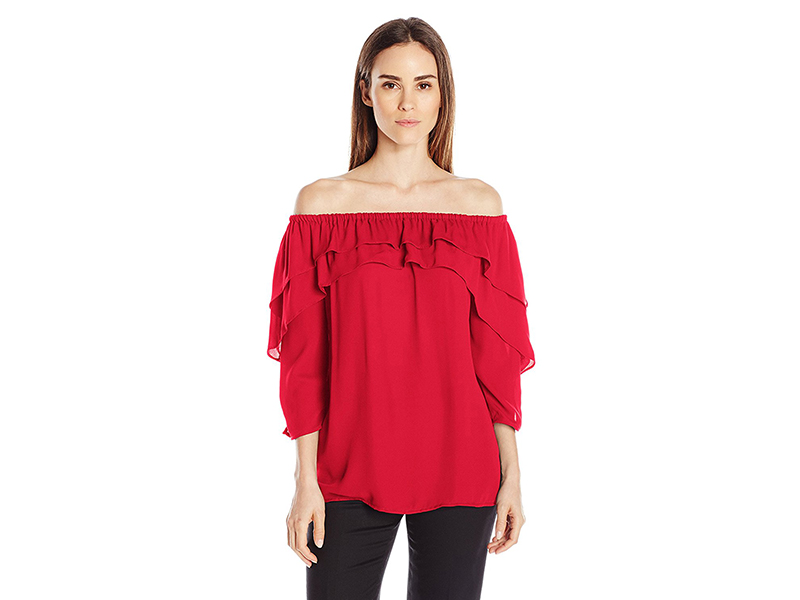 NY Collection Solid 3/4 Sleeve Off the Shoulder Top with Ruffles At Neckline and Sleeves