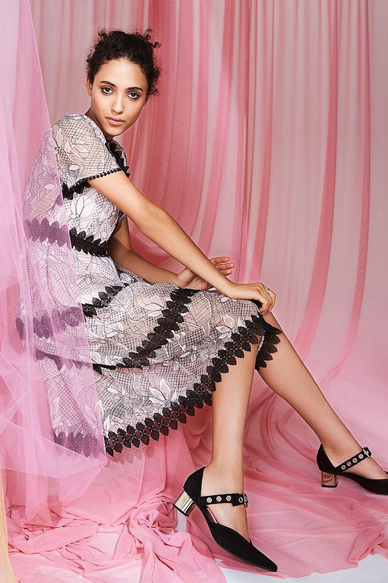 Nicholas Iris Lace Midi Paneled Dress