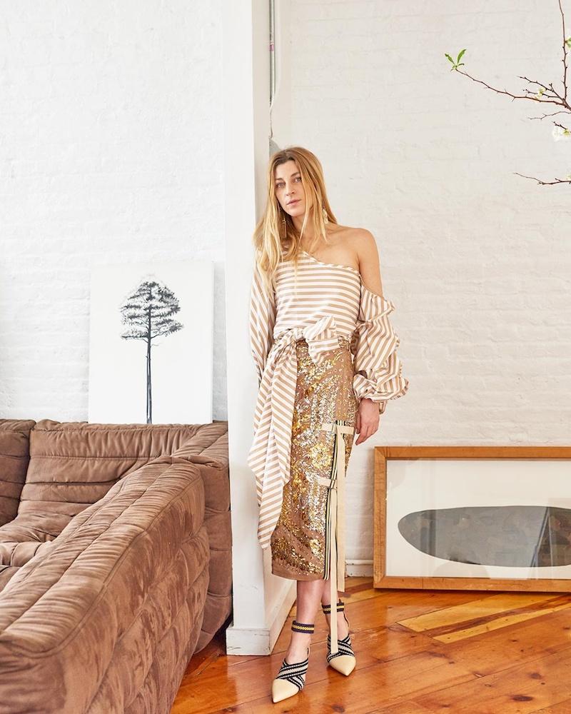 No. 21 Sequin-Embellished Pencil Skirt