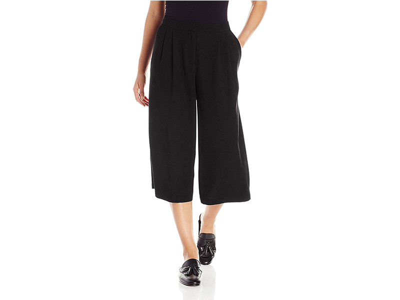 PARIS SUNDAY Pleated Coulotte Crepe Pant