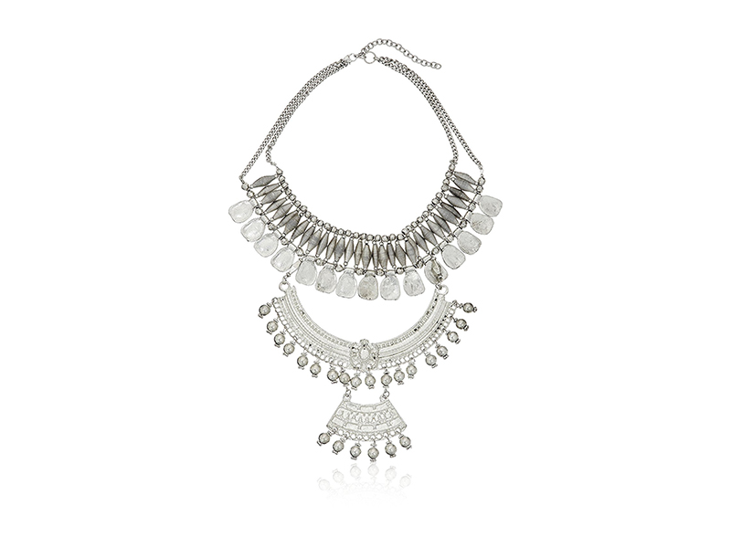 Panacea Silver Tribal Statement Necklace