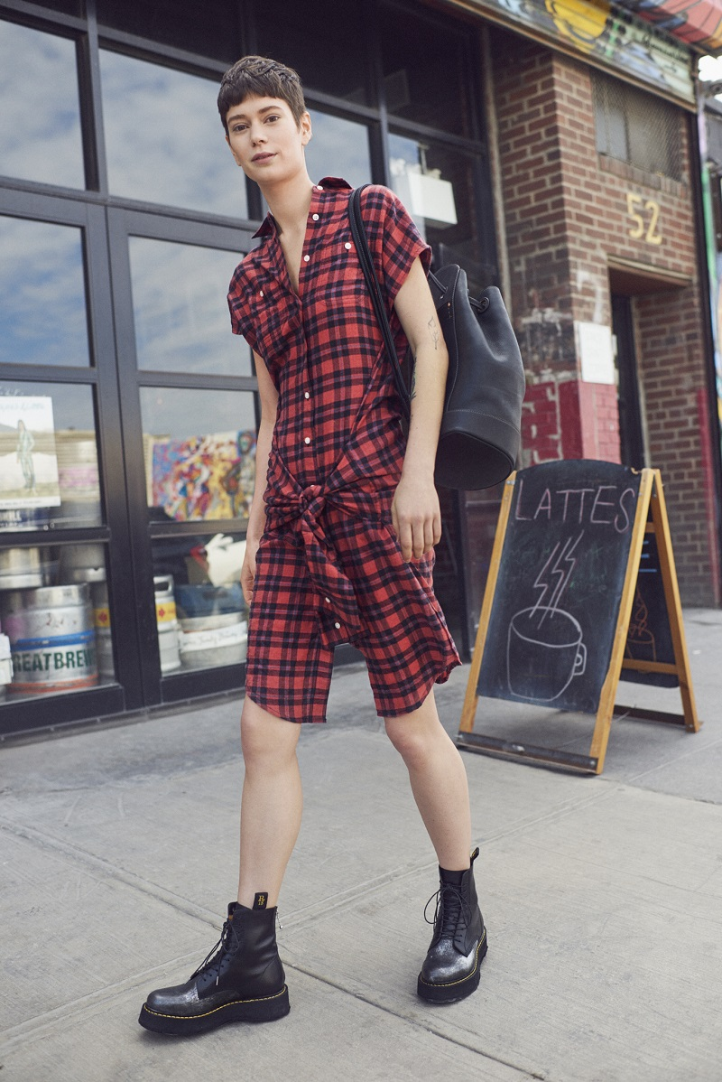 R13 Plaid Sleeveless Wrap Shirtdress