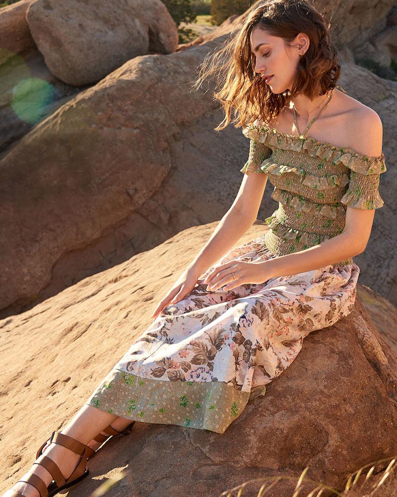 Rebecca Taylor Off Shoulder Mixed Prints Dress