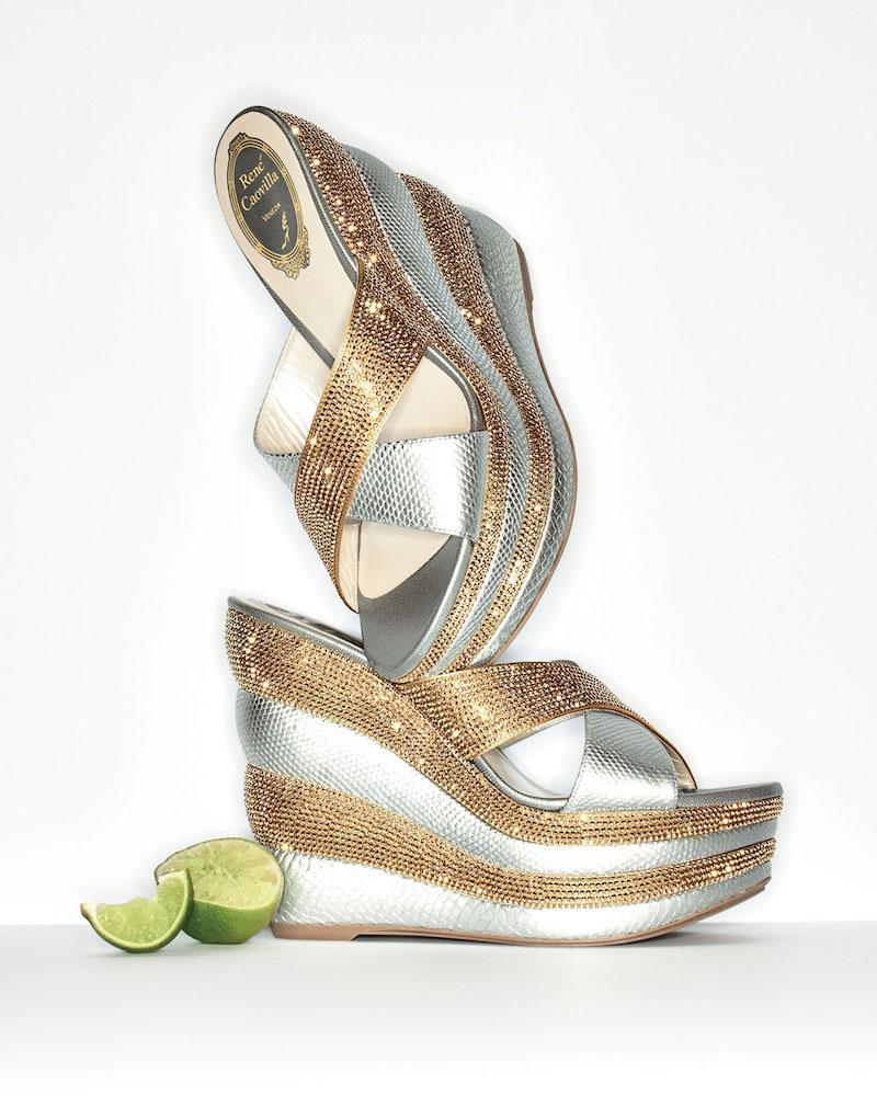 Rene Caovilla Crystal Crisscross 135mm Wedge Sandal