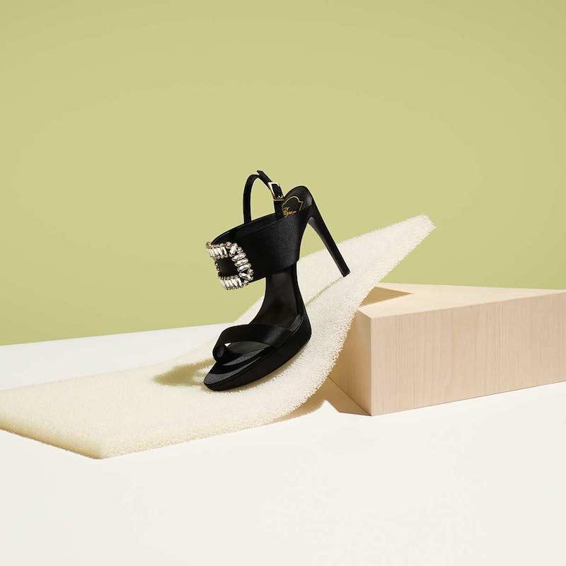 Roger Vivier 110mm Swarovski Buckle Satin Sandals