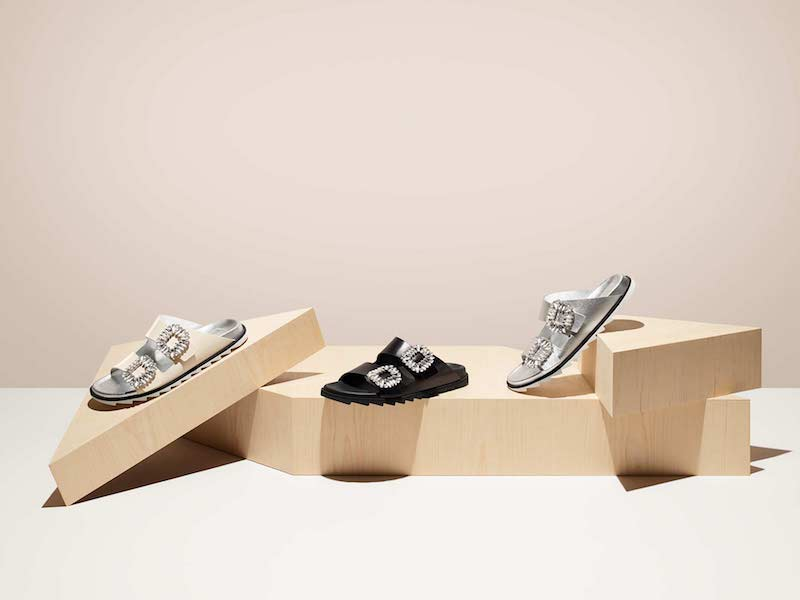 Roger Vivier 30mm Slidy Viv Leather Slide Sandals