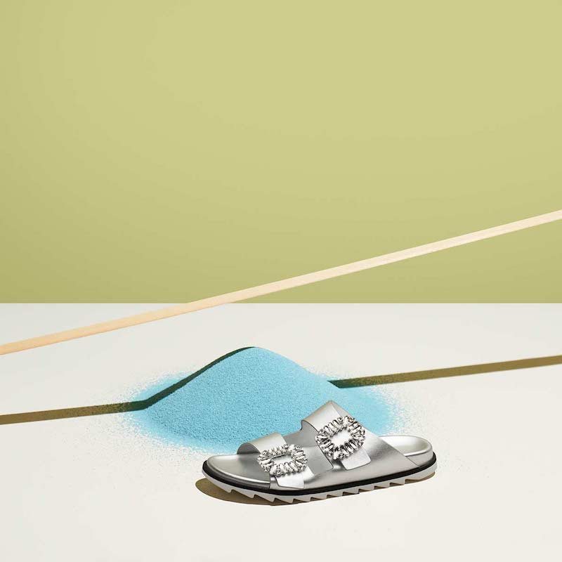 Roger Vivier 30mm Slidy Viv Metallic Leather Sandals